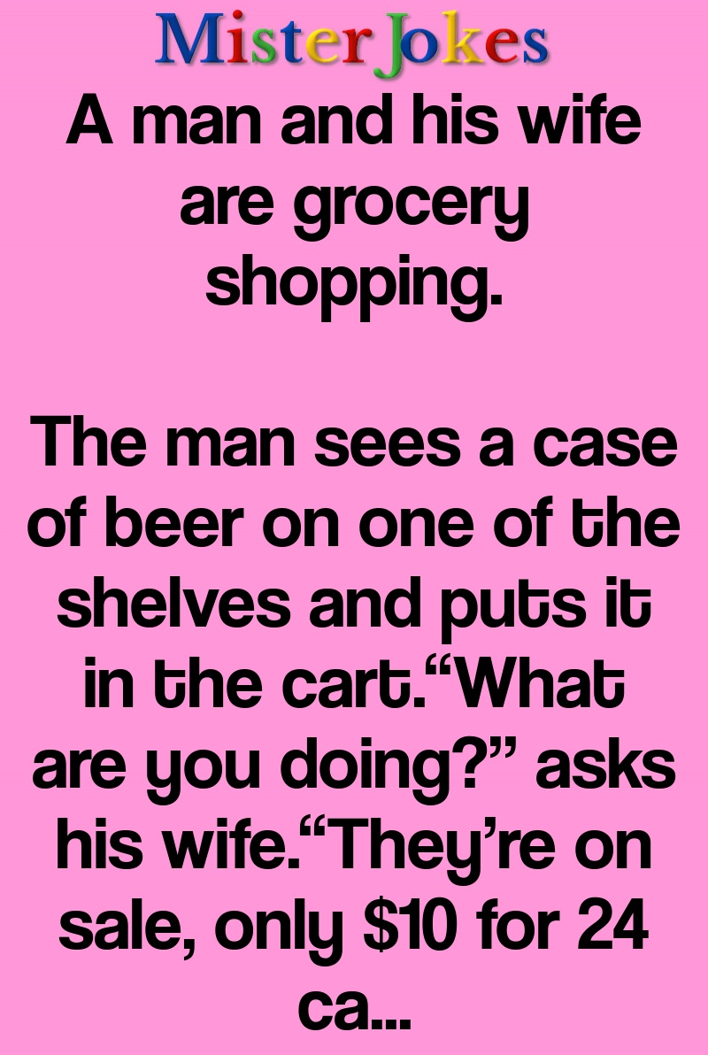 A man and his wife are grocery shopping.