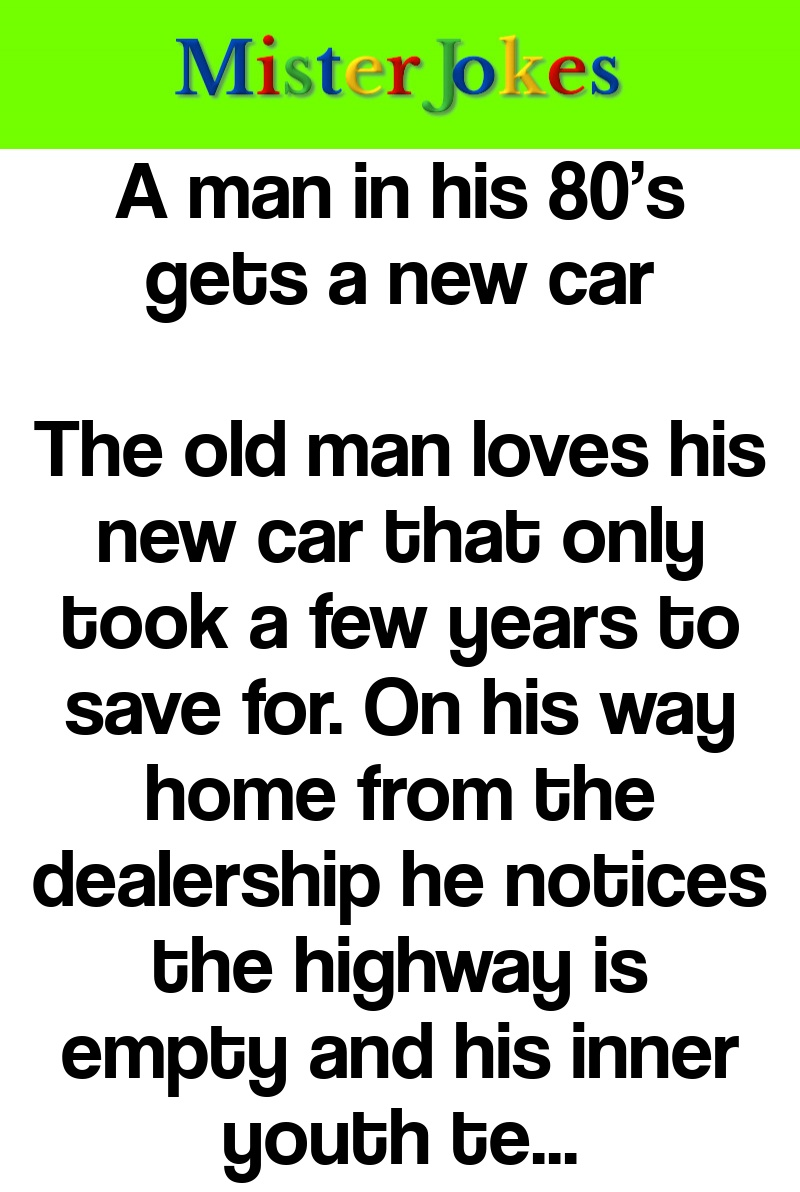 A man in his 80's gets a new car