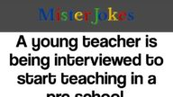 A young teacher is being interviewed to start teaching in a pre school.