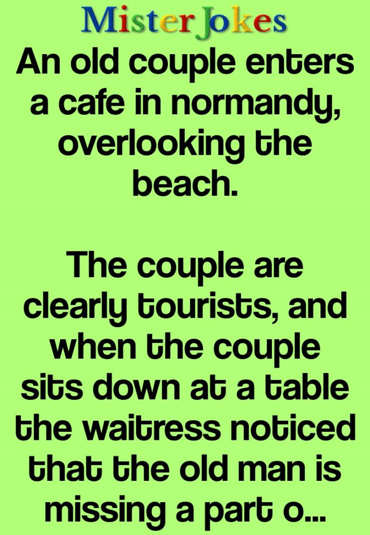 An old couple enters a cafe in normandy, overlooking the beach.