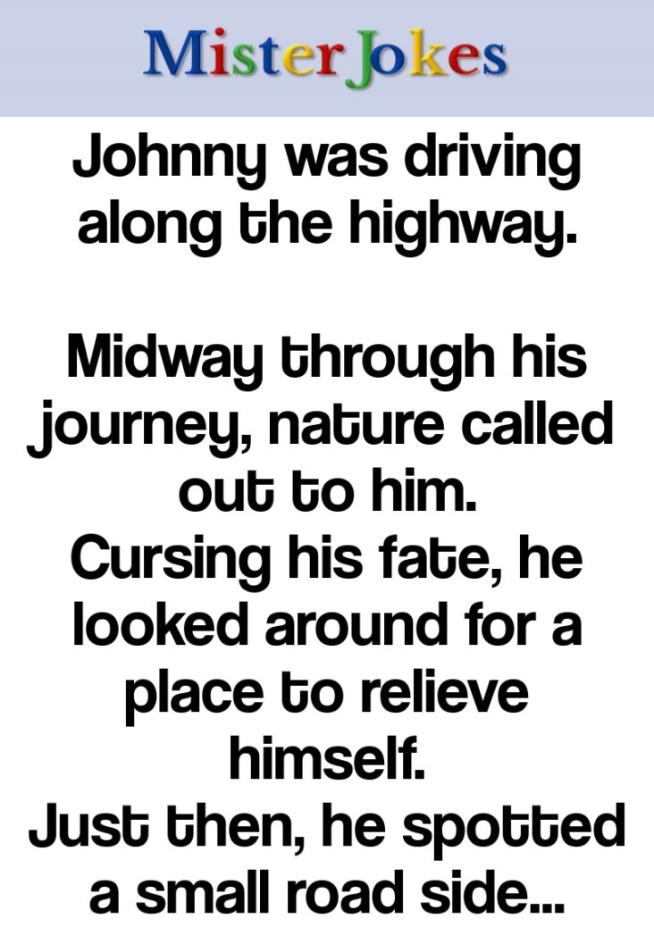 Johnny was driving along the highway.