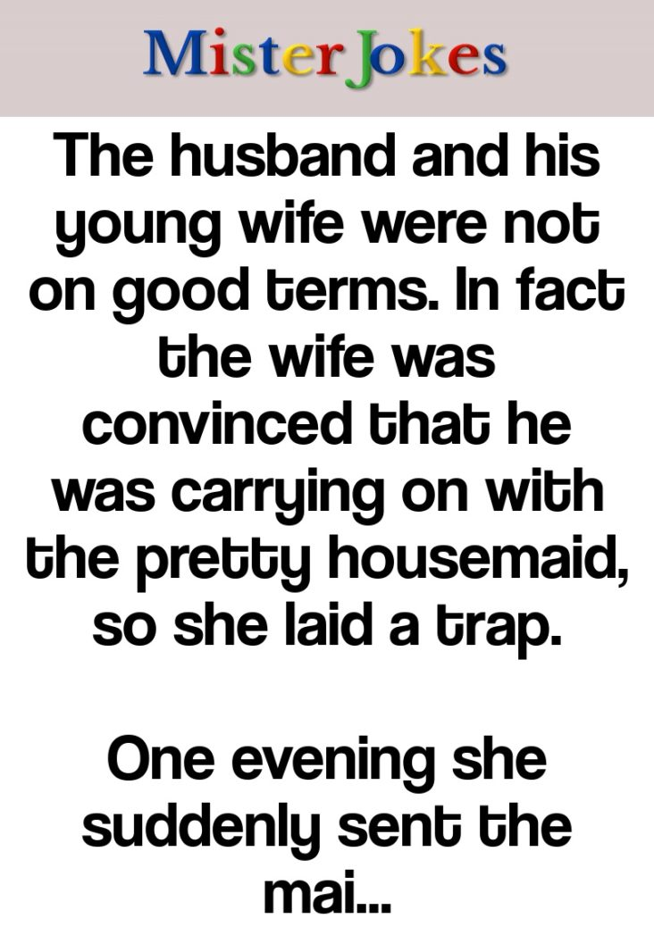 The husband and his young wife were not on good terms. In fact the wife was convinced that he was carrying on with the pretty housemaid, so she laid a trap.