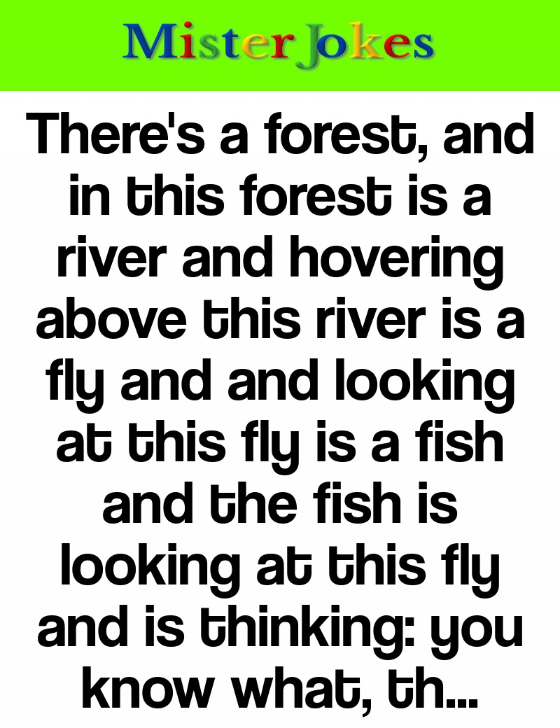 There's a forest, and in this forest is a river and hovering above this river is a fly and and looking at this fly is a fish and the fish is looking at this fly and is thinking: you know what, that fly drops six inches, i'm gonna go up there, get that fly and have myself a really nice meal.