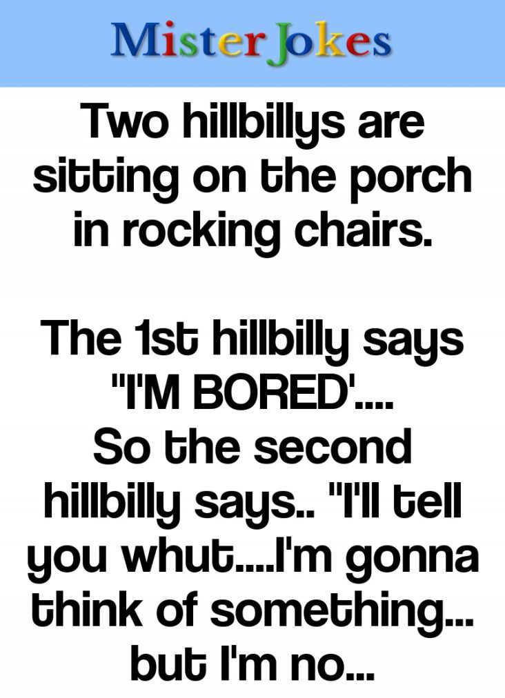 Two hillbillys are sitting on the porch in rocking chairs.