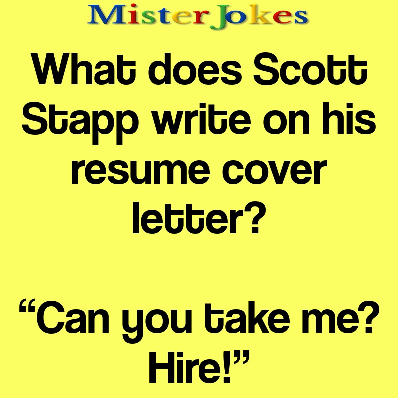 What does Scott Stapp write on his resume cover letter?