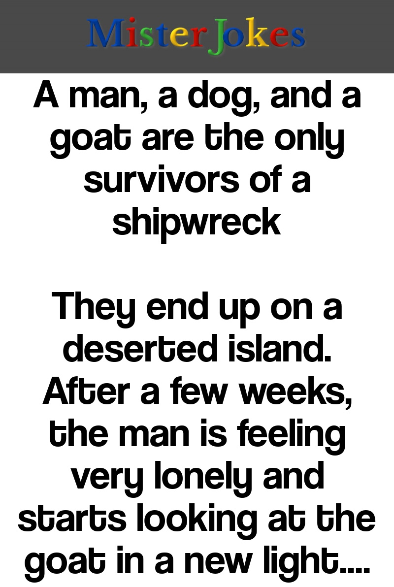A man, a dog, and a goat are the only survivors of a shipwreck