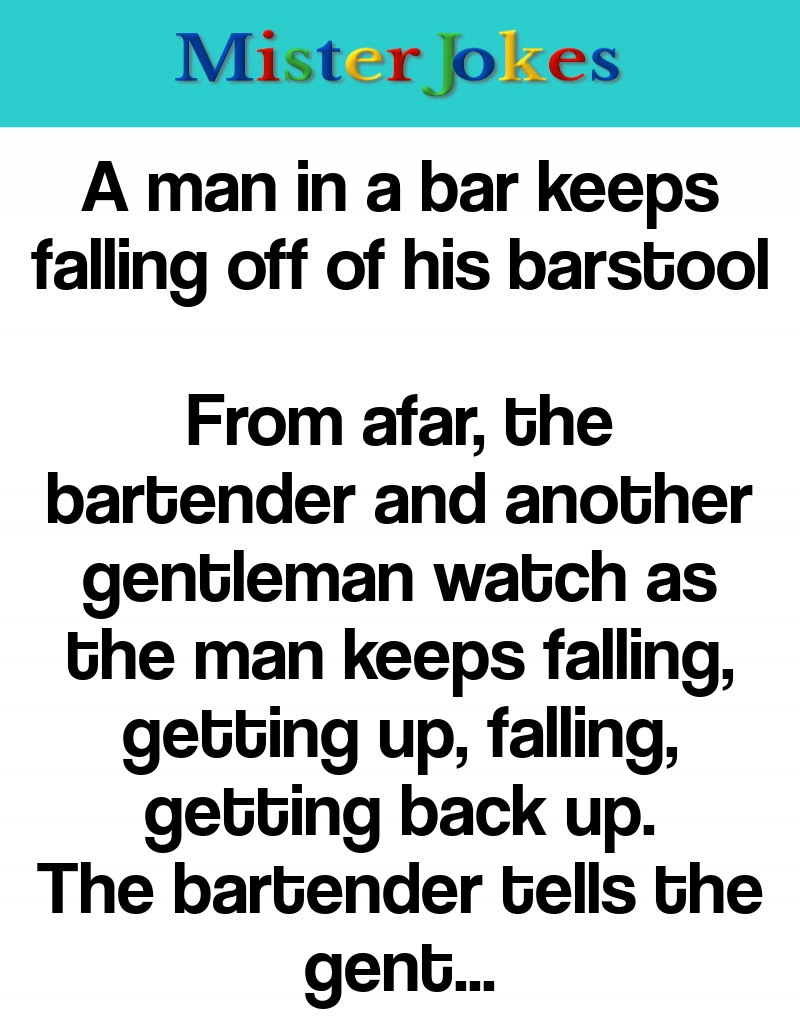 A man in a bar keeps falling off of his barstool