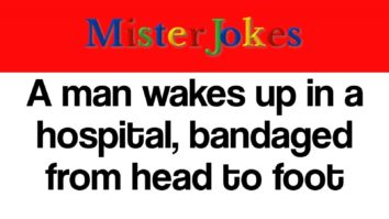 A man wakes up in a hospital, bandaged from head to foot