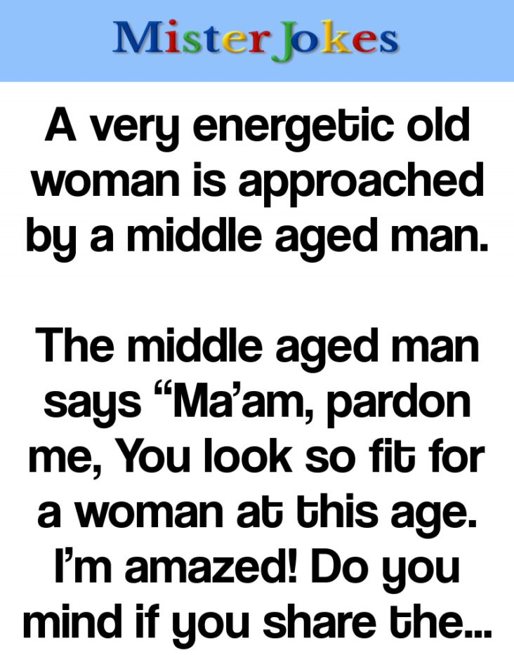A very energetic old woman is approached by a middle aged man.