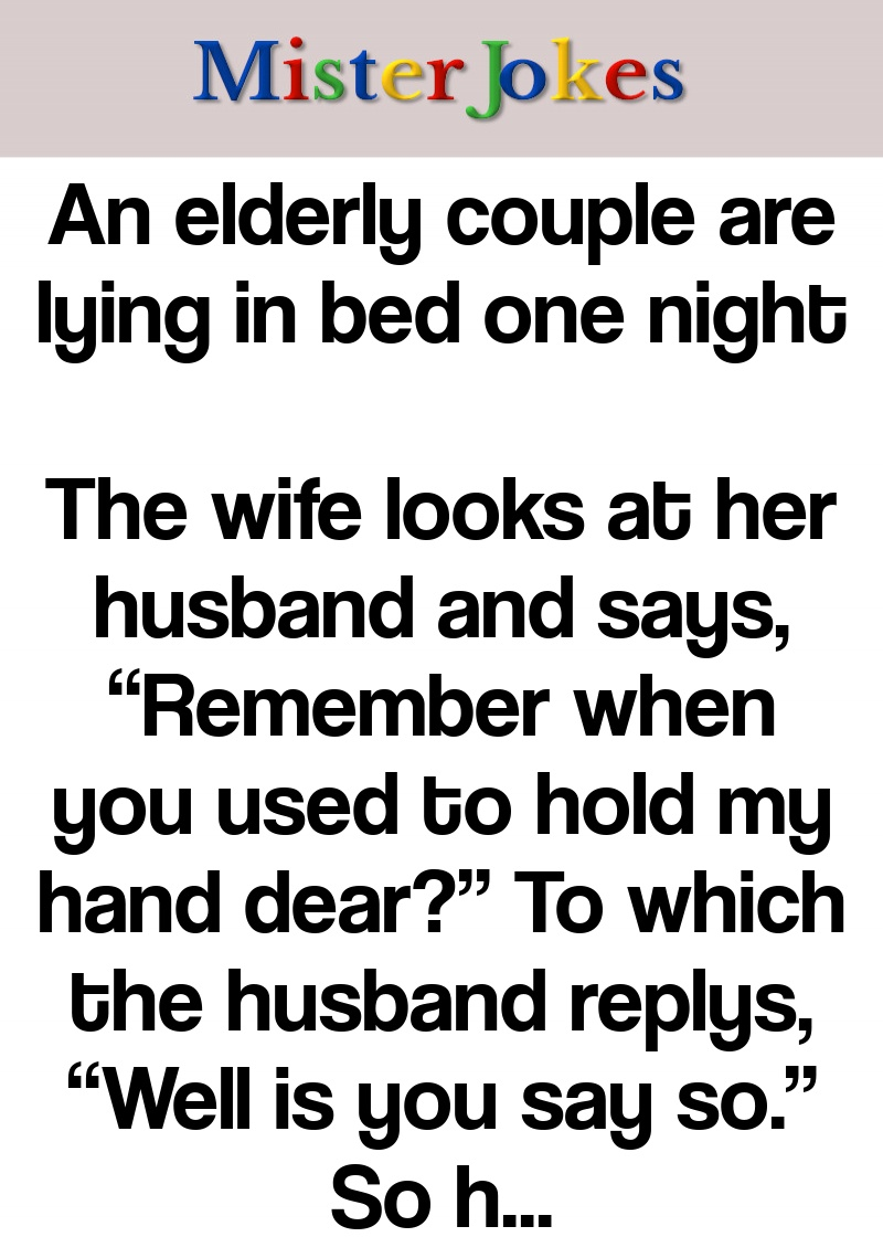An elderly couple are lying in bed one night