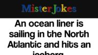 An ocean liner is sailing in the North Atlantic and hits an iceberg.