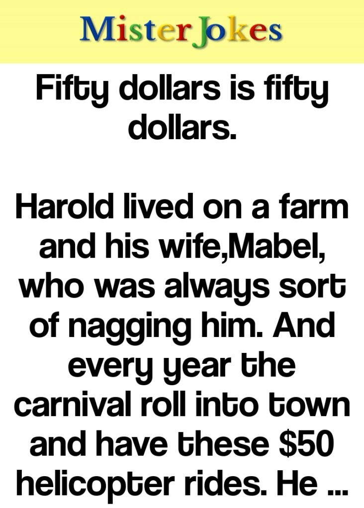 Fifty dollars is fifty dollars.