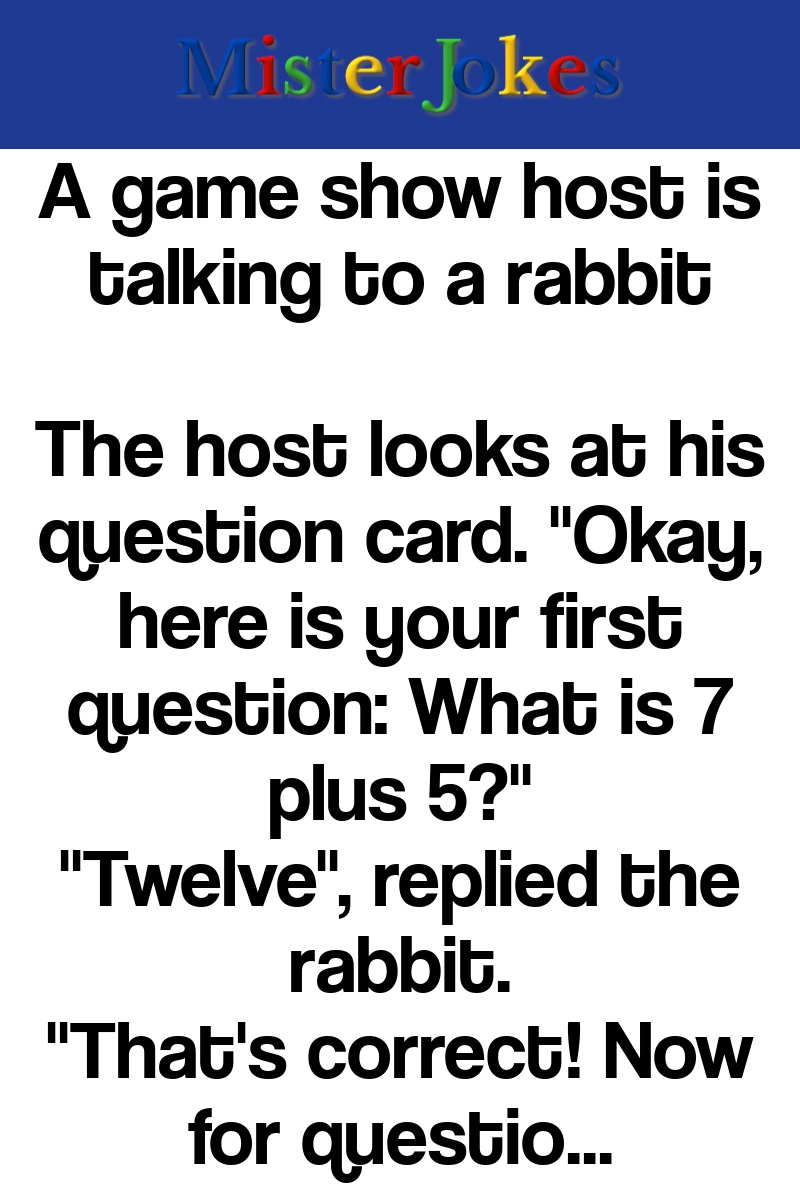 A game show host is talking to a rabbit