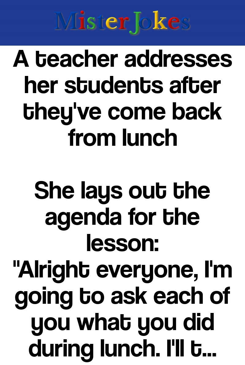 A teacher addresses her students after they've come back from lunch