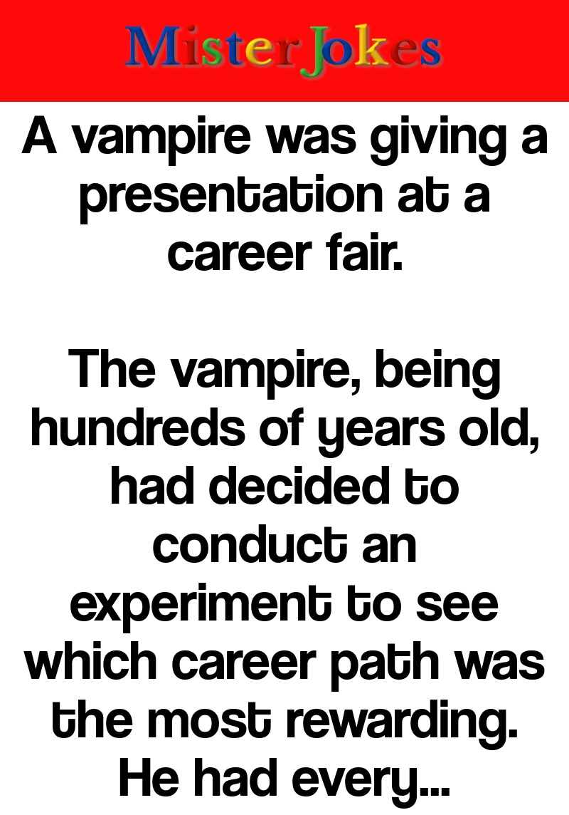 A vampire was giving a presentation at a career fair.