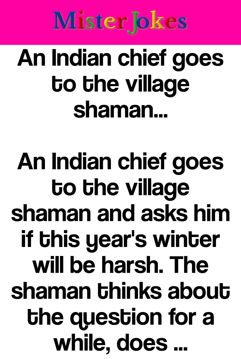 An Indian chief goes to the village shaman…