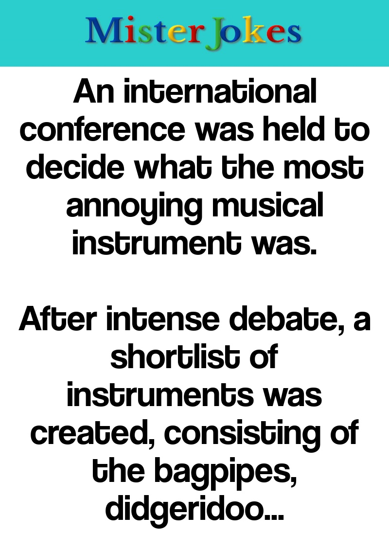 An international conference was held to decide what the most annoying musical instrument was.