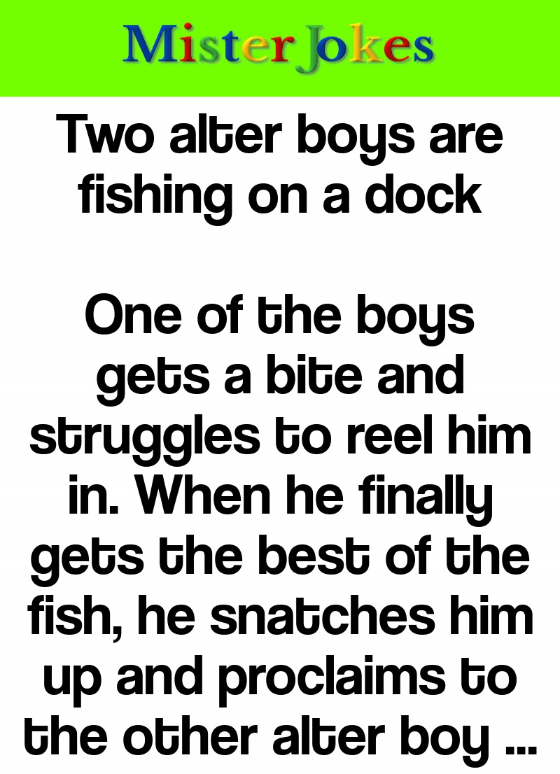 Two alter boys are fishing on a dock