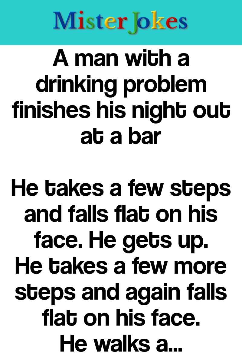 A man with a drinking problem finishes his night out at a bar