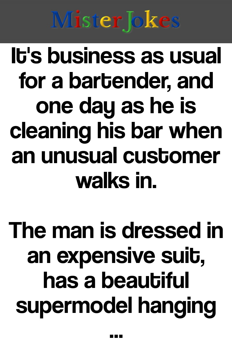 It's business as usual for a bartender, and one day as he is cleaning his bar when an unusual customer walks in.