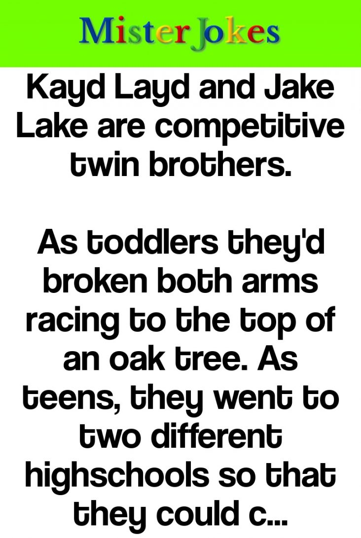 Kayd Layd and Jake Lake are competitive twin brothers.