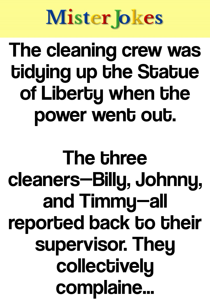 The cleaning crew was tidying up the Statue of Liberty when the power went out.