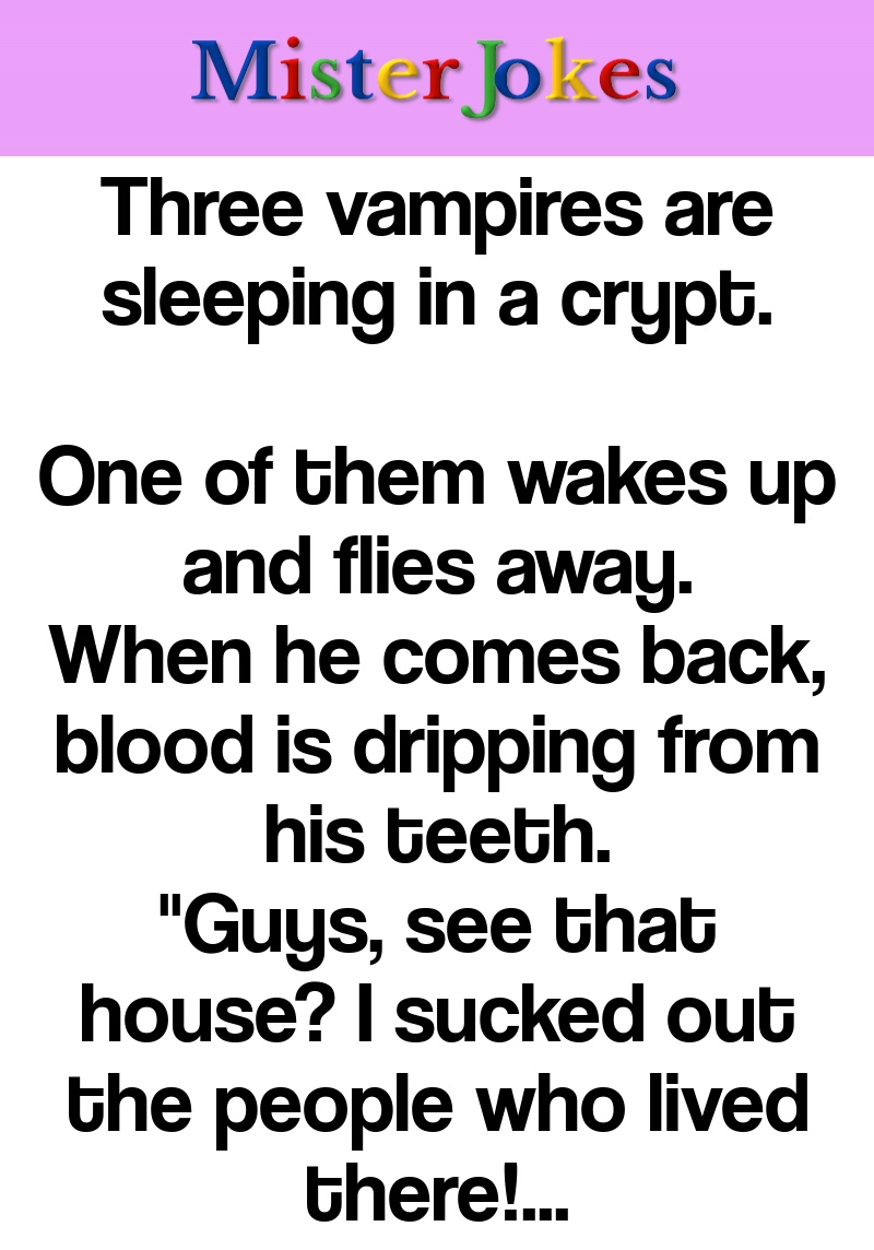 Three vampires are sleeping in a crypt.